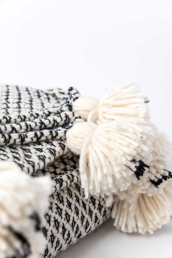 White and Black Moroccan Blanket