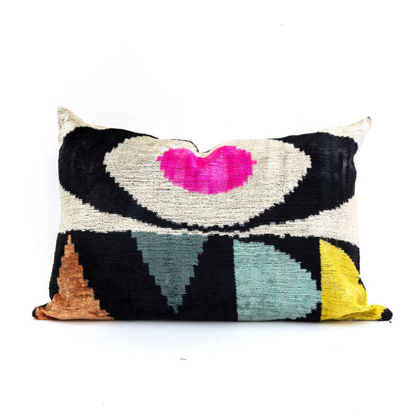 Abstract Eye Velvet/Silk Lumbar Pillow
