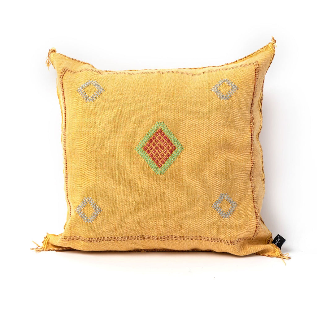 Yellow Cacti Silk Pillow