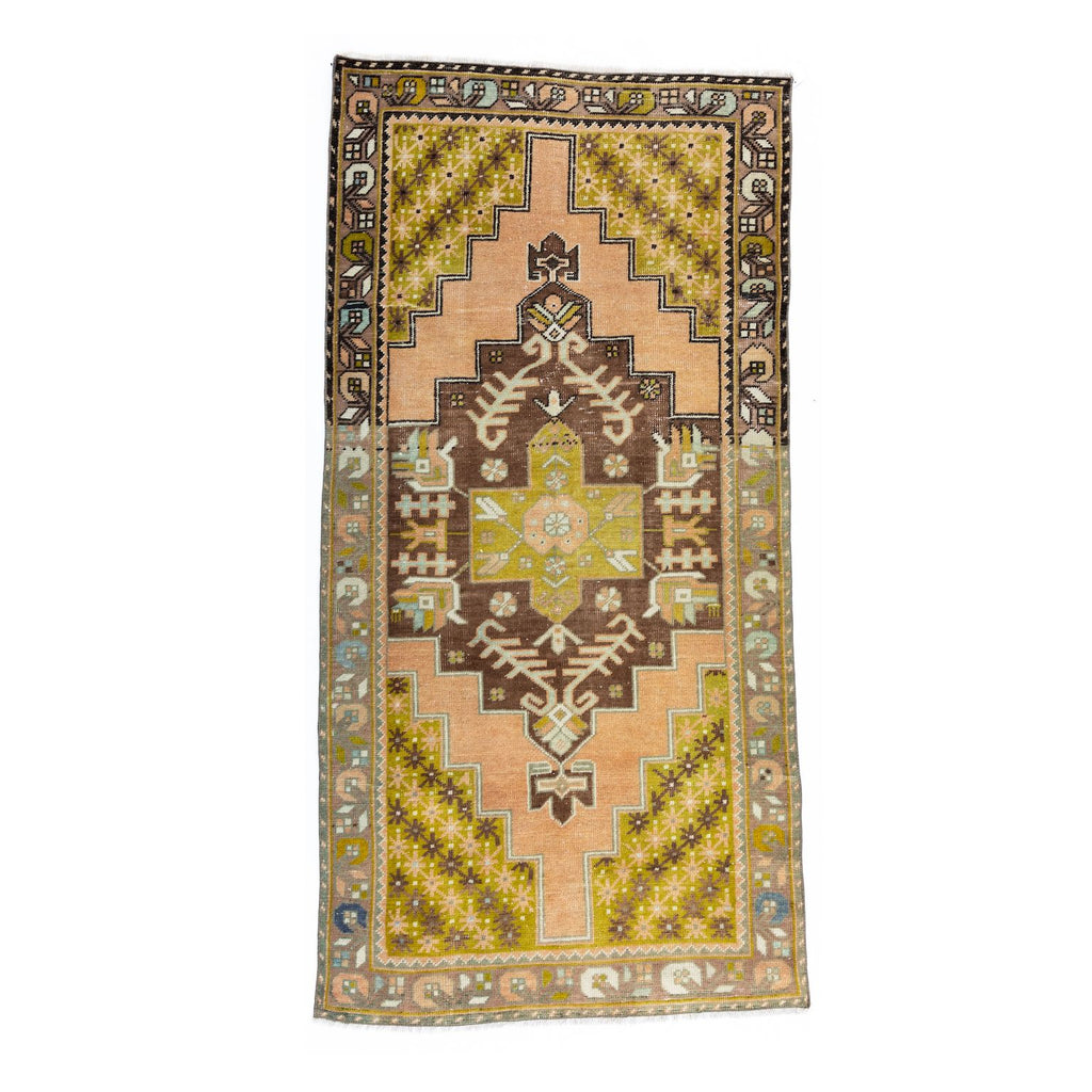 Yellow-Green Star Vintage Turkish Rug