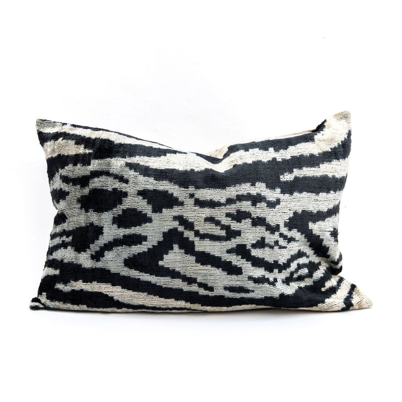 Animal Print Velvet/Silk Lumbar Pillow