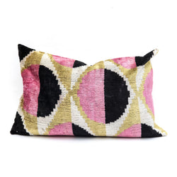 Abstract Circles Velvet/Silk Lumbar Pillow