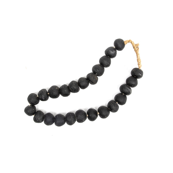 Large Black Recycled Glass Styling Beads