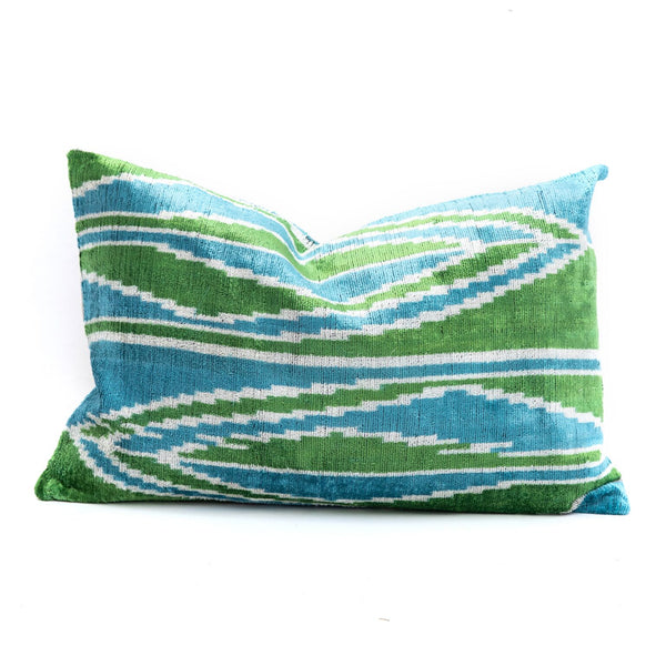 Green & Blue Stripe Velvet/Silk Lumbar Pillow