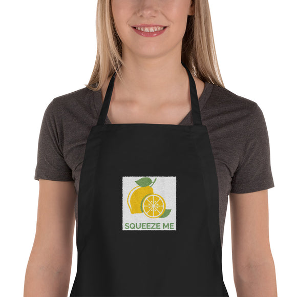 Squeeze Me - Juicy Lemon Cute Embroidered Apron Design