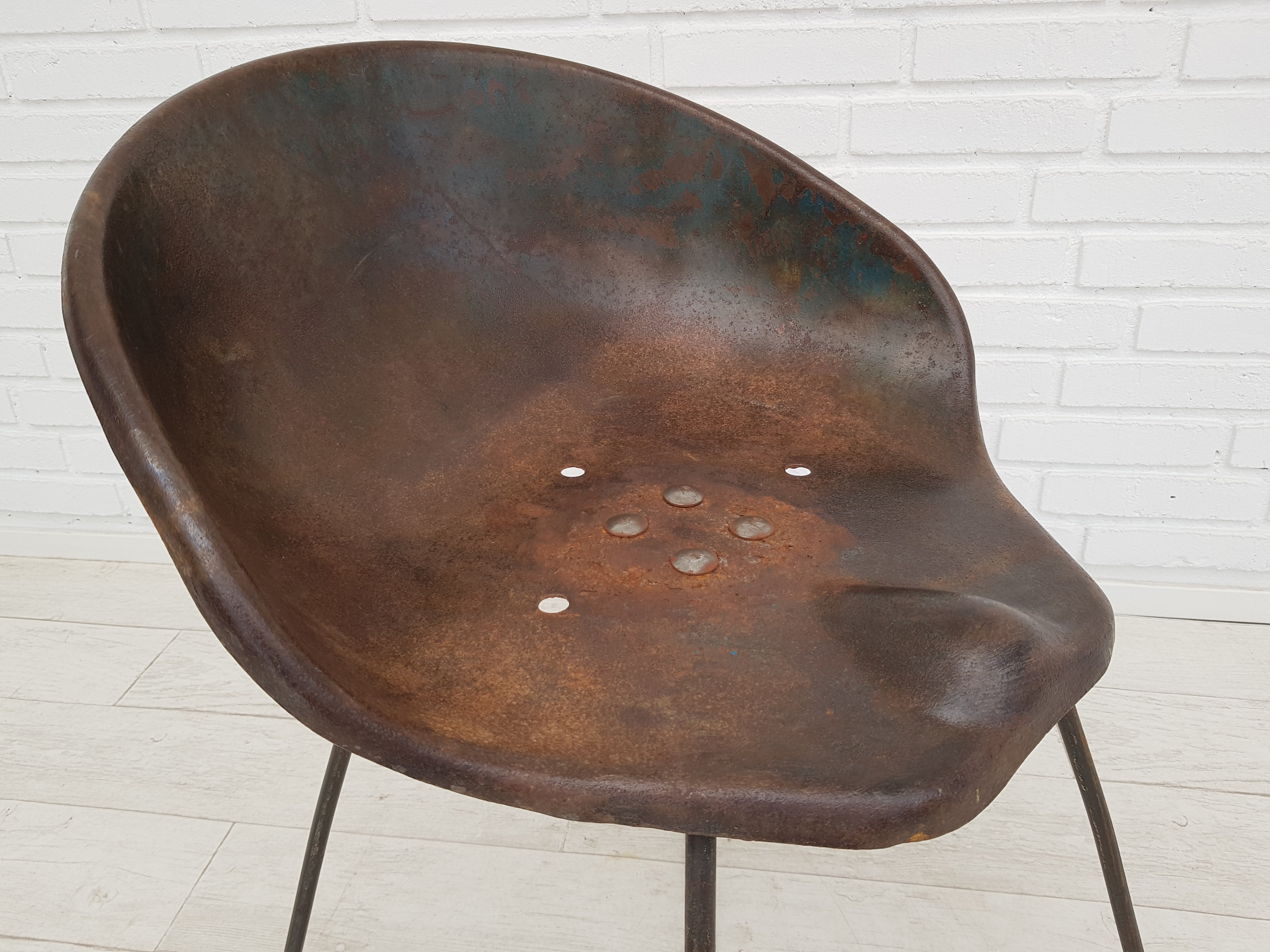 Armchair, old tractor seat, metal, 50s