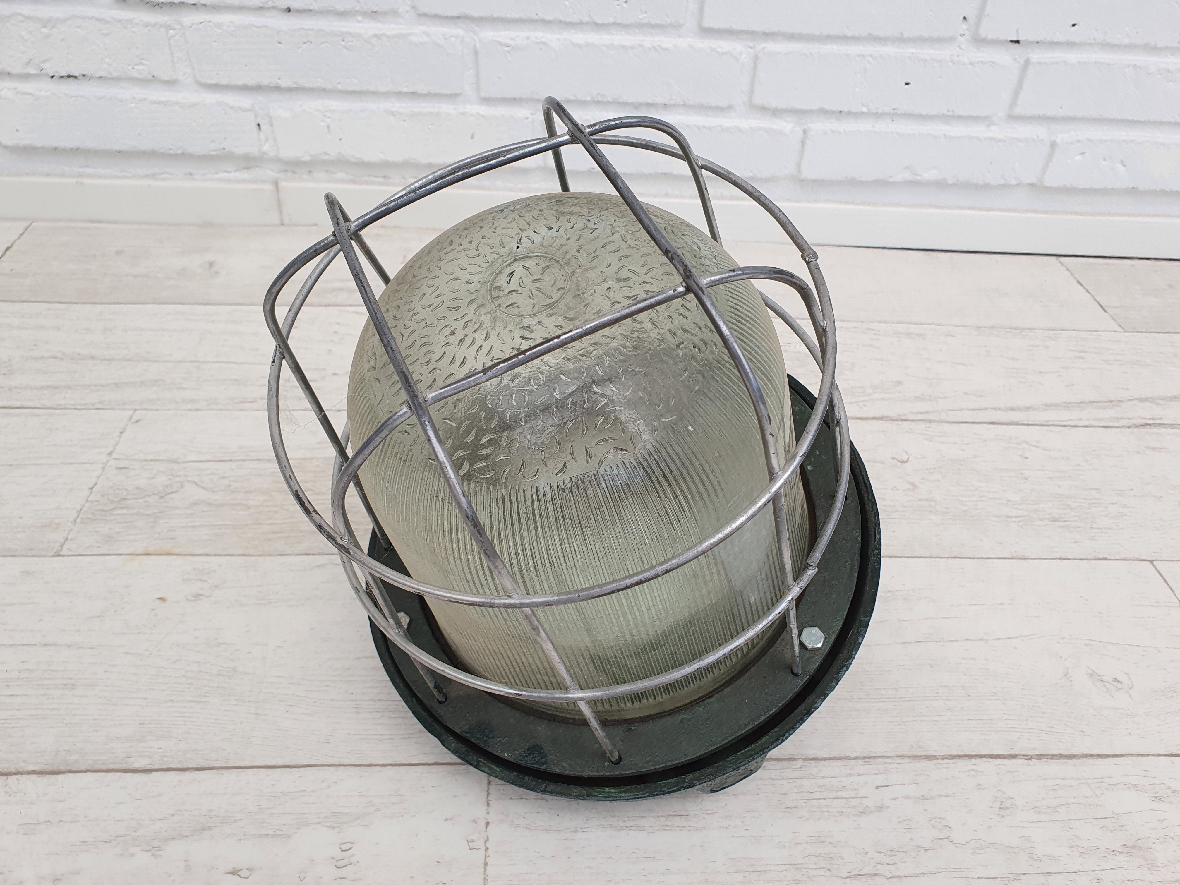 Old pendant lamp, industrial workshop lamp, glass dome, 60s