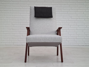 Alfred Christensen, completely renovated Danish armchairs, stool, 60s, furniture wool