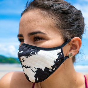 Travel Themed Face Mask with a world map on the Chase for Adventure Shop