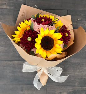 Sunflowers and Dahlias bouquet