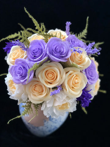 Purple and Light Yellow roses bouqet