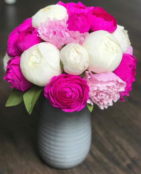Hot Pink and white peonies