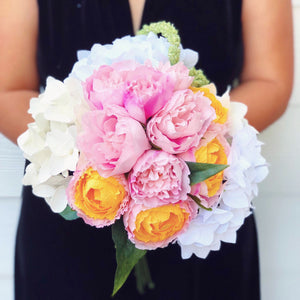 Blush peonies and Hydrangea Bouquet