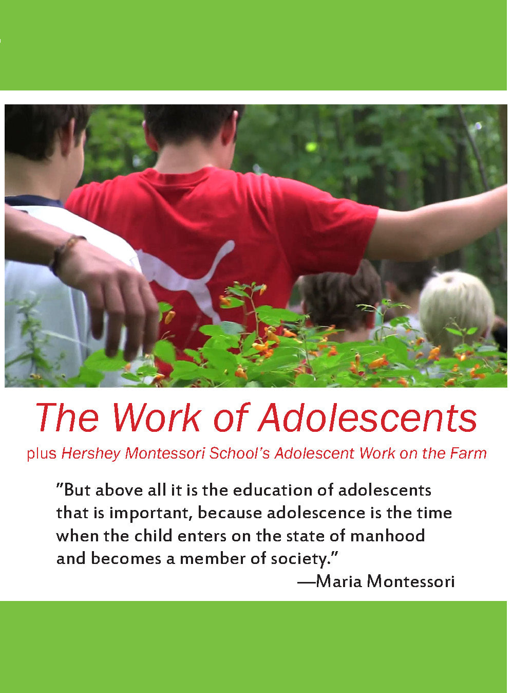 The Work of Adolescents