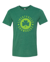 Load image into Gallery viewer, Libertyville Shamrocks Design on Green Tee
