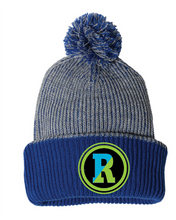 Load image into Gallery viewer, Blue and gray pom hat with Rockland patch