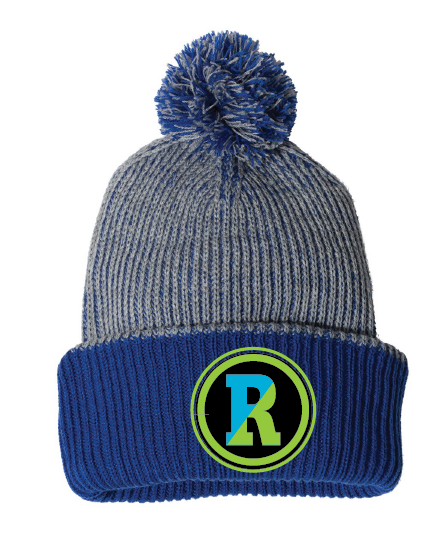 Blue and gray pom hat with Rockland patch