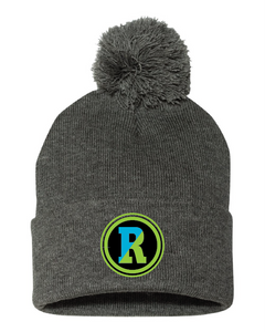 Solid gray pom hat with Rockland patch