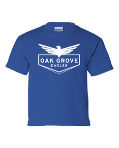 royal blue tee with eagle camp design in white