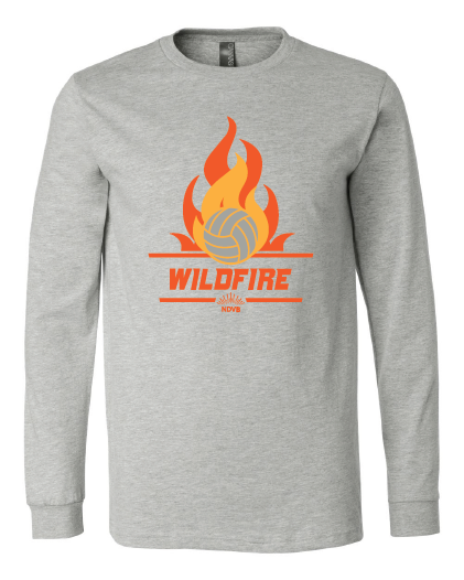 Wildfire Volleyball design on athletic gray long sleeve tee