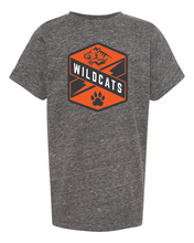 Load image into Gallery viewer, gray melange tee with Libertyville Wildcats crest in orange