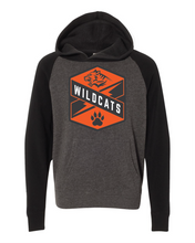 Load image into Gallery viewer, gray and black raglan hoodie with Libertyville Wildcats crest