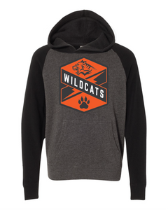 gray and black raglan hoodie with Libertyville Wildcats crest