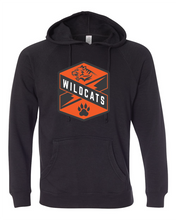 Load image into Gallery viewer, Black Raglan hoodie with Wildcats Crest in orange