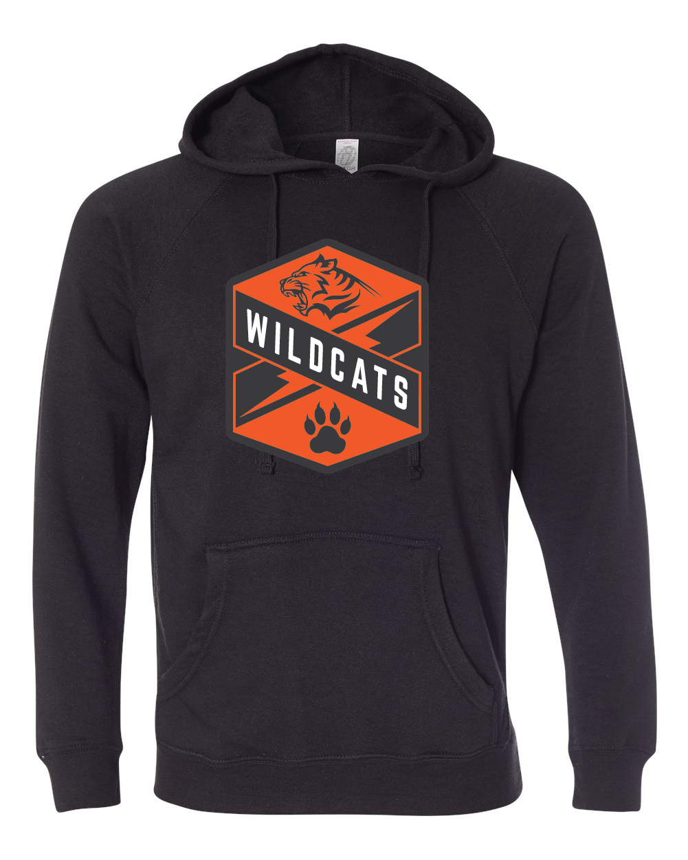 Black Raglan hoodie with Wildcats Crest in orange