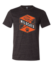 Load image into Gallery viewer, black tee with Wildcats crest in orange