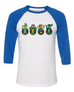 Libertyville D70 Mascot Raglan Tee Blue and White