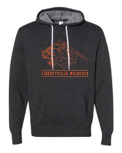 Load image into Gallery viewer, Libertyville Fierce Wildcats on Charcoal Hoodie with white drawstrings