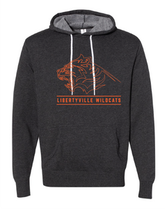 Libertyville Fierce Wildcats on Charcoal Hoodie with white drawstrings