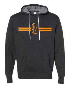 Libertyville Retro LV Lines on Charcoal Hooded Sweatshirt