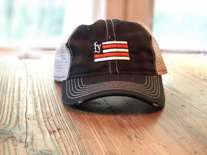 Libertyville Wildcats Flag Distressed Trucker Hat