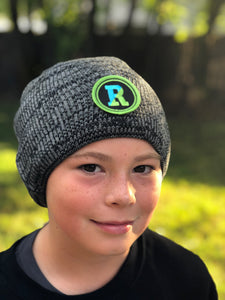 Black and white marled beanie with Rockland patch