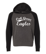 Load image into Gallery viewer, Oak Grove Eagles in vintage lettering on black and gray hoodie