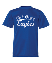 Load image into Gallery viewer, Royal blue performance tee with Oak Grove Eagles in vintage lettering.