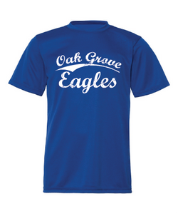 Royal blue performance tee with Oak Grove Eagles in vintage lettering.