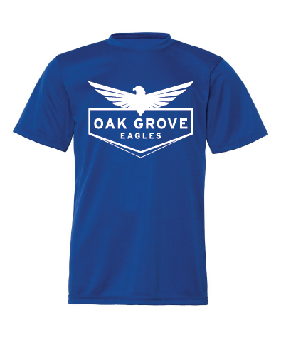 royal blue performance tee with white Oak Grove Eagles design