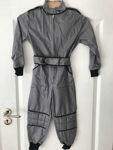 4-5 Years Kids Race Suite Grey/Black Stripe