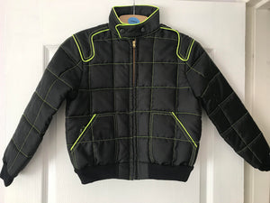 Kids Medium 6-7 years Race Jacket Black with Yellow Stripe