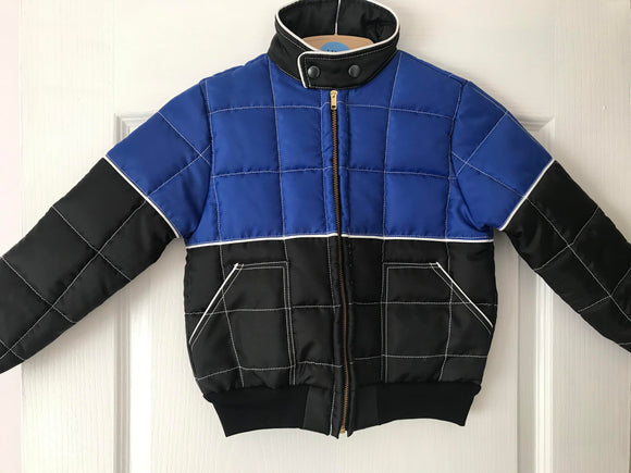 Kids Medium 6-7 years Race Jacket Blue/Black/White Stripe