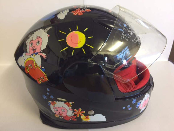 Gloss Black Kiddies Helmet Sheep Design