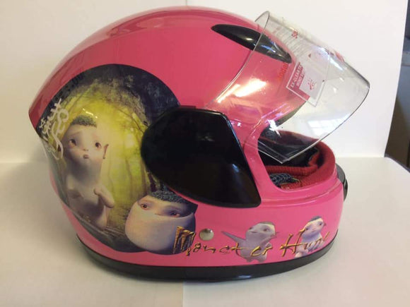 Gloss Pink Kiddies Helmet with Animation Design - Pocketbike SA