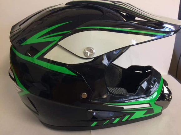 Gloss Black & Green Kiddies Dirt Bike Motocross Helmet - Pocketbike SA