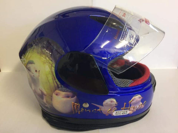 Gloss Blue Kiddies Helmet with Animation Design - Pocketbike SA