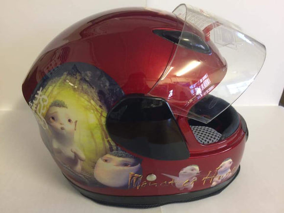 Gloss Red Kiddies Helmet with Animation Design - Pocketbike SA