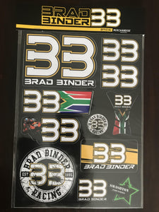 Official Brad Binder #33 MotoGP Rider Sticker Kit - Pocketbike SA