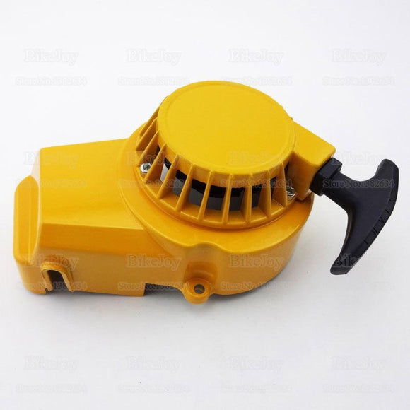 Yellow Metal Pull Start with inner alloy cog - PLEASE CHECK The Type That You Need - Pocketbike SA